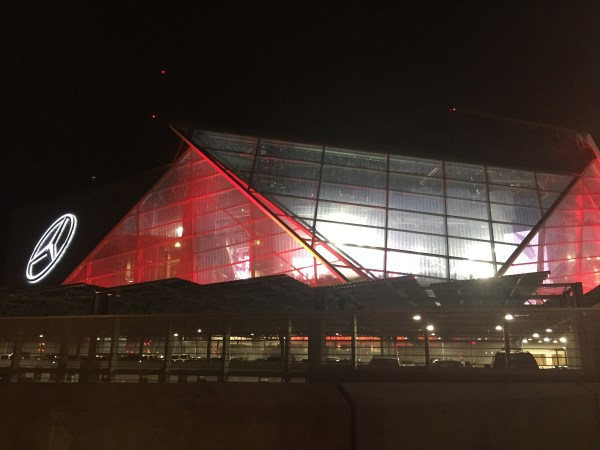 The outside of the atlanta falcons stadium before going in for the saints vs falcons game! - adventuresofb2.com