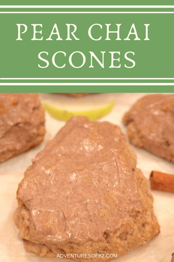 pear chai scones are filled with deliciously sweet pear chunks, and chai spices that make the perfect breakfast scone. These scones are soft buttery and full of flavor. - Adventuresofb2.com #pear #chai #scones #breakfast #bread