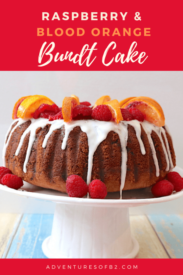 Raspberry and Blood Orange bundt cake is an easy cake recipe for anyone to make. Full of flavor and picture worthy! This moist bundt cake is filled with flavors of sweet blood oranges and raspberries topped with a blood orange glaze. Perfect for any holiday celebration! - Adventuresofb2.com #bundtcake #cake #easyrecipes #bloodoranges #raspberries