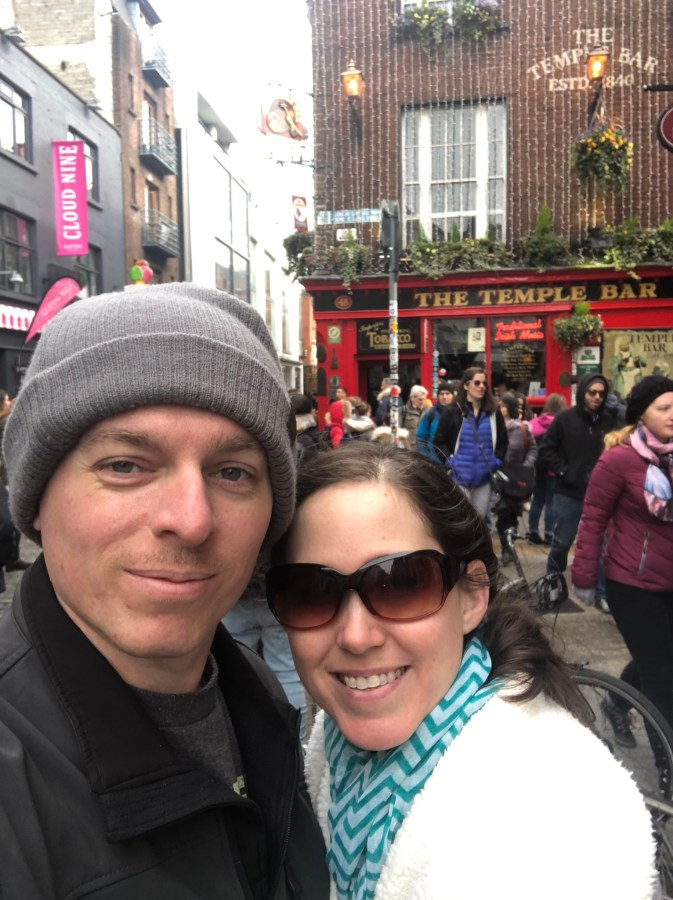 Don't forget to stop and take a picture at the world famous Temple bar on your trek through Dublin. This Ireland road trip itinerary leaves you plenty of time to explore all Dublin has to offer and more. - Adventuresofb2.com
