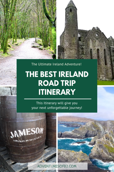The Best Ireland Road Trip Itinerary that includes all the main attractions with a few less well known. Explore the cliffs of moher, wicklow mountains, Galway market and don't forget to grab a cold pint of Guinness! This road trip itinerary will take you around all of ireland and stopping in many different cities to get a taste of all of Ireland - Adventuresofb2.com