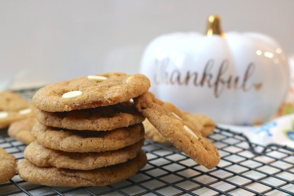 say hello to your favorite fall cookie. White Chocolate pumpkin chai snickerdoodle cookies are a the ultimate fall dessert. With flavors of pumpkin, cinnamon, and chai spices with swirls of white chocolate and a cinnamon sugar coating on top. They're sweet, soft, chewy and cinnamon-y. Perfect for all things fall and Thanksgiving. - adventuresofb2.com