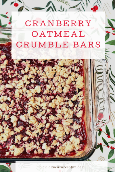 Nothing beats fresh cranberries during the holiday season. Cranberry Crumble Bars are a delicious cookie bar that can double as a snack or dessert. Its soft cookie base topped with a not overly sweet cranberry filling topped with a crumble topping with oatmeal and dashes of cinnamon. The combination makes this such a warm, cozy, comforting dessert. - Adventuresofb2.com #christmasdessert #cranberrybars #cranberry #holidaydesserts #cookiebars
