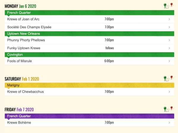Mardi Gras parade schedule for 2020 in New Orleans area. Celebrate this carnival season in New Orleans and the surrounding area by catching one of the parades!