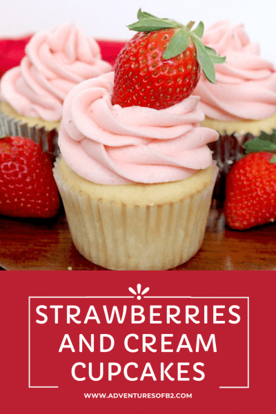 Celebrate Valentine's day with your partner or friends with these delicious cupcakes! It starts with a simple yet tasty vanilla cupcake filled with a whip cream and strawberries topped with a sweet strawberry buttercream. Or celebrate with this tasty summer dessert out by the pool! #strawberry #vanilla #cupcakes #strawberriesandcream #strawberrycupcakes #vanillacupcakes #strawberryfrosting - Adventuresofb2.com