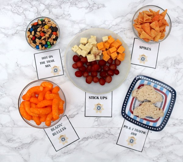 Snack ideas for a police themed birthday party or a police themed date night! See more great ideas at adventuresofb2.com