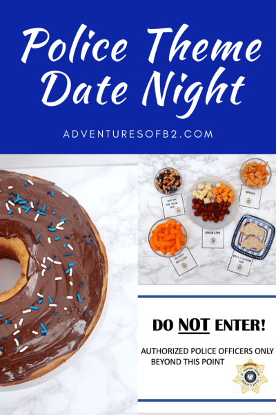 Surprise your partner with a police theme date night! A fantastic way to show your cop loving partner you care. Get all the food, games, and more over at adventuresofb2.com - #police #datenight #dateidea #policedate #themeddates