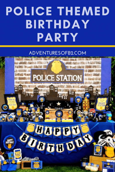 Celebrate your child's birthday with a police themed party! Find tons of ideas for party decorations, donut cake, cop party favors and police themed games at Adventuresofb2.com #police #birthdayparty #cop #donuts #partytheme
