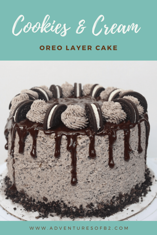 The perfect party cake for any occasion. Oreo cookies and cream layer cake is the perfect celebration cake! It is loaded with Oreo cookies. It's a 3 layer simple white cake with bits of cookies and cream with oreo buttercream layered in between with chocolate ganache. Topped with more oreo icing, oreos and dripping with creamy chocolate ganache It's every cookie lover's dream! - adventuresofb2.com #dripcake #oreo #cookiesncream #dessert