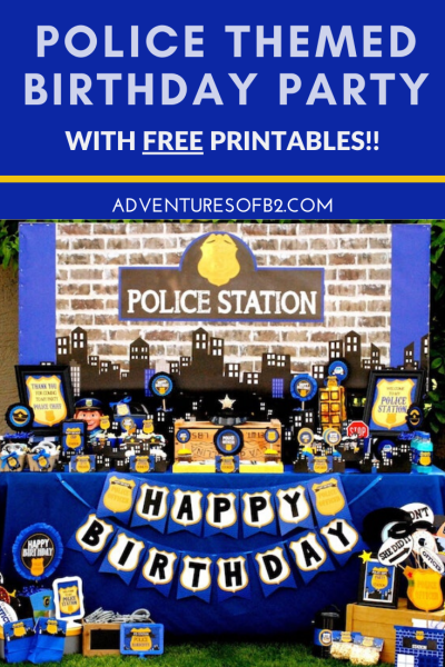 Celebrate your child's birthday with a police themed party! Find tons of ideas for party decorations, donut cake, cop party favors and police themed games including printables at Adventuresofb2.com #police #birthdayparty #cop #donuts #partytheme