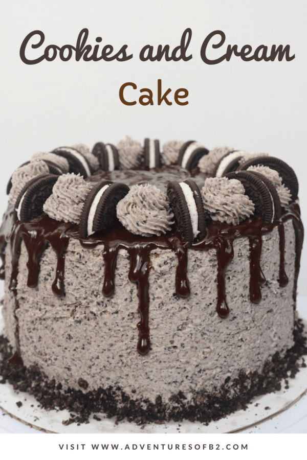 Oreo cookies and cream drip cake is the perfect celebration cake! It is loaded with Oreo cookies. It's a 3 layer simple white cake with bits of cookies and cream with oreo buttercream layered in between with chocolate ganache. It's every cookie lover's dream! - adventuresofb2.com #cake #cookiesandcream #oreo #dessert #buttercream