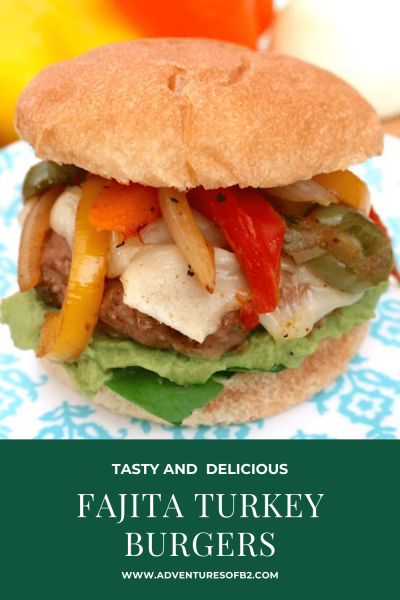 Move over cheeseburgers, fajita turkey burgers are a fun alternative to regular burgers. Grilled onions and bell peppers with homemade fajita seasoning, add some pepper jack cheese for a extra little spice. Top your burger with all your favorite toppings. Delicious! - Adventures of B2