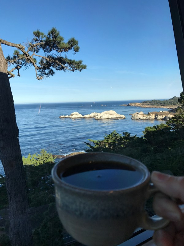 Coffee and a view at The Hyatt Carmel Highlands.