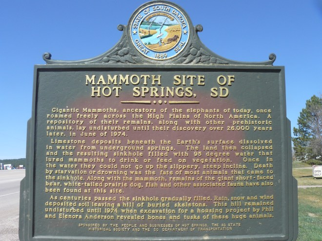Mammoth Site plaque Hot Springs, SD