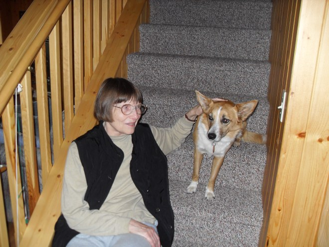 Lupe meets great aunt Joyce on the stairway to the loft Lupe adored.