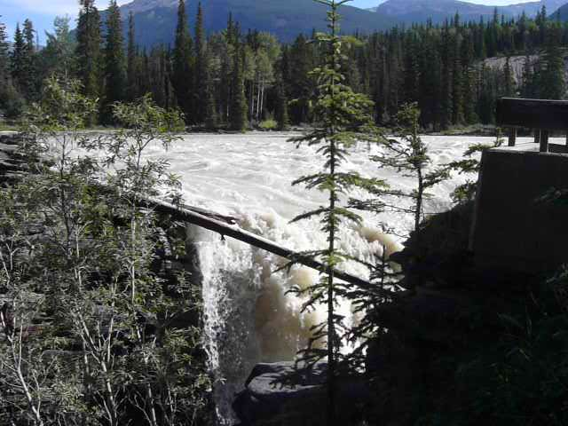 Athabasca Falls is 24 meters high and rated Class V. Class V = Don't even think about it!
