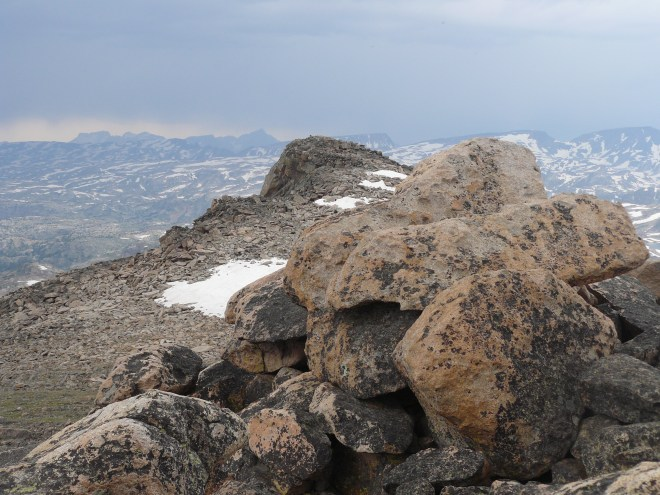 Looking NW toward the possible true summit of Lonesome Mountain. Some maps indicate it might be 10,409 feet, whereas the summit Lupe climbed may be only 10,399 feet. Close enough for Dingo play!