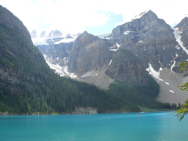 Mt. Fay (L) and Mt. Little (R) from the Moraine Lake Lakeshore Trail.