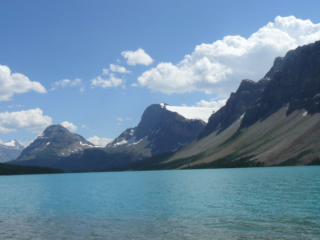 Looking SE across Bow Lake. The Crowfoot Glacier is visible just right of center.