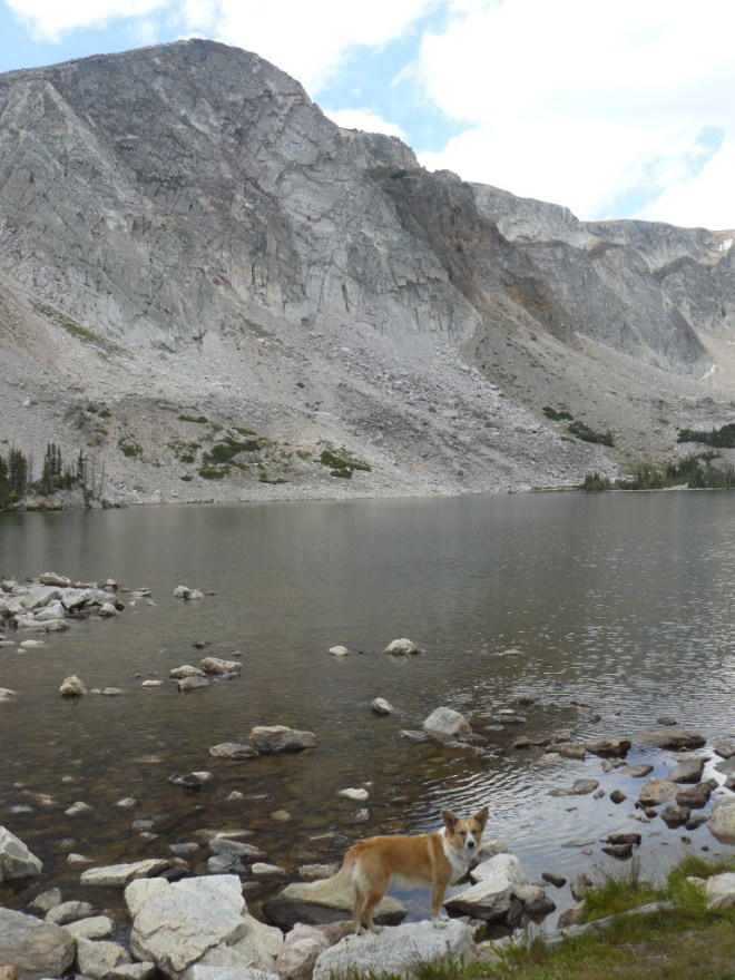 Lupe at Lake Marie in the Medicine Bow Mountains.