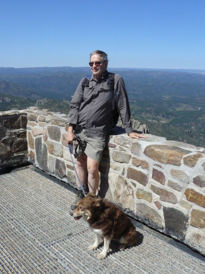 Joe and Dusty on the viewing platform next to the Harney Peak lookout tower.