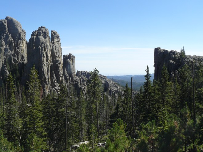 The Cathedral Spires from Trail No. 4 after crossing to the S of the saddle between them and Little Devils Tower.