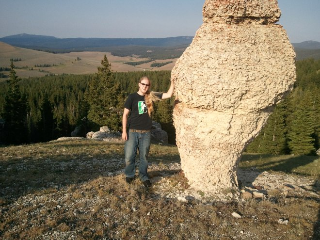 Lanis at the giant mushroom in the Bighorn Mountains.
