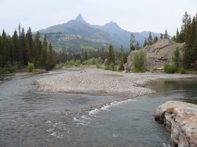This bend in the Clark's Fork of the Yellowstone River, became home base for Lupe, Lanis & SPHP during Lupe's stay in the Beartooths on her 2012 Dingo Vacation. Photo looks NW toward Pilot Peak (L) and Index Peak (R).