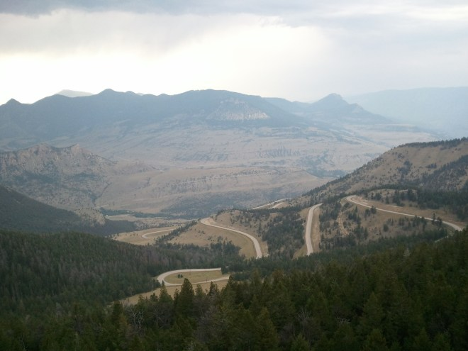 View from the Chief Joseph Scenic Byway. Photo looks W from the pullout near the pass.