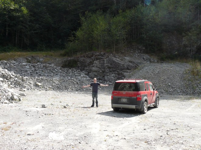 Lanis and the Element at the sort of rock quarry place at the end of the road beyond South Fork campground. So, now what?