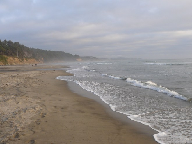 The beach where Lupe played between Devil's Punchbowl and Beverly Beach State Park. Photo looks S.