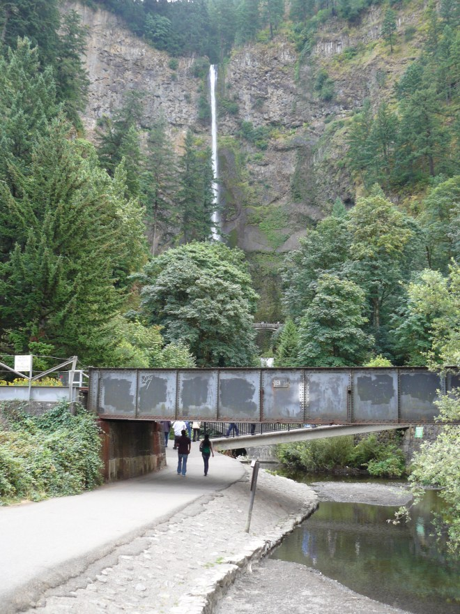 The walkway to Multnomah Falls, Oregon from the parking lot along I-84.