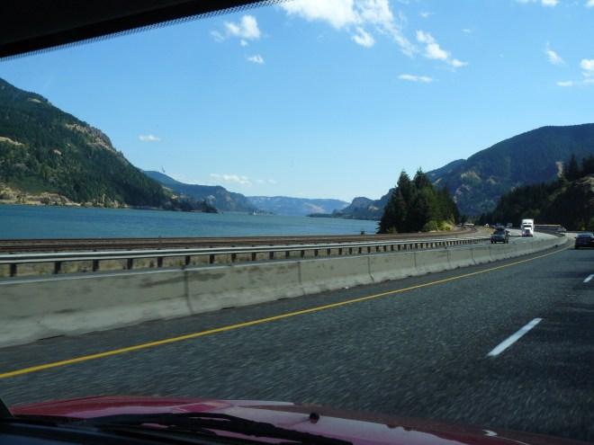 Heading E on I-84 along through the Columbia River Gorge E of Multnomah Falls.