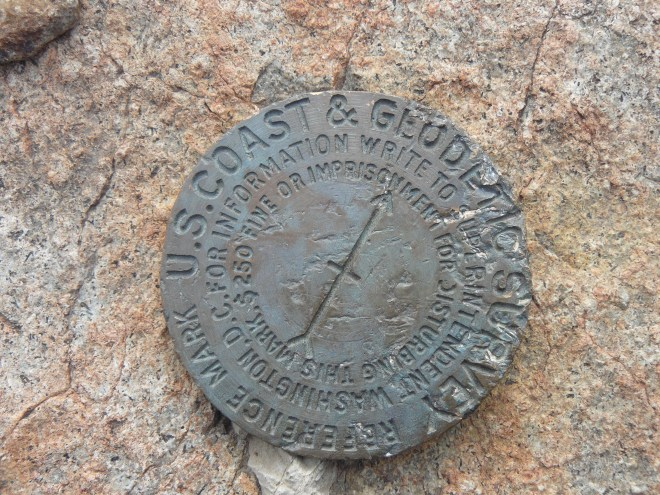 USGS benchmark on Inyan Kara.
