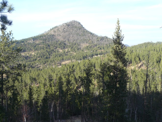St. Elmo Peak from some granite formations down in Bear Gulch. Photo looks N.