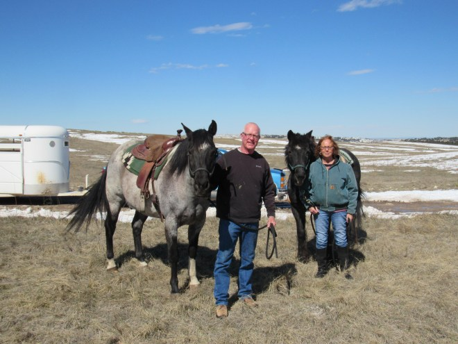 Gordon & Judy Hoffmaier with their horses Willow and Sage. Fortunately, Gordon had no problem turning their pickup truck and horse trailer around in the field next to the road.