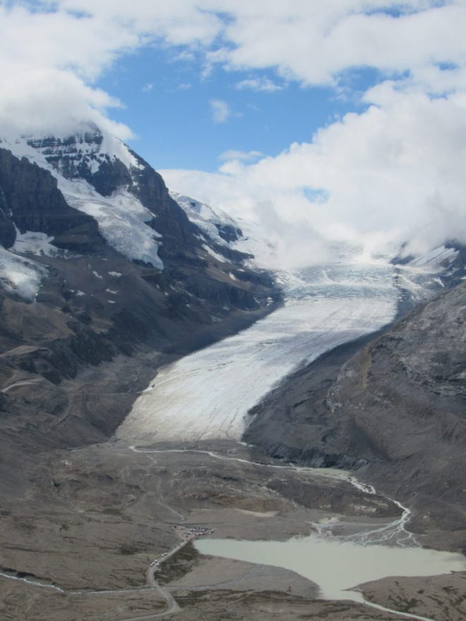 The Athabasca Glacier and Sunwapta Lake. Photo looks SW.