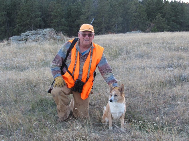 Lupe in the remote Bear Lodge Mountains of NE Wyoming with her new friend, elk hunter Joe Eberz from Ohio.