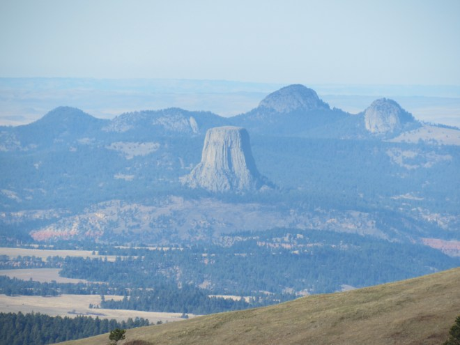 Devils Tower and Missouri Buttes from the viewpoint NW of Warren Peaks. Photo looks NW using the telephoto lens.