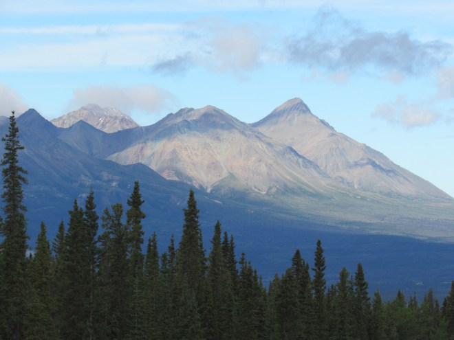 Mount Decoeli (R) from the Alaska Highway NW of Haines Junction. Photo looks WNW.