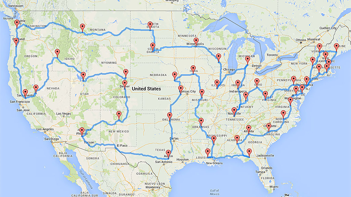 The most efficient road trip to every lower 48 U.S. state ... United States Capitol Map on map national mall, map georgetown university, map library of congress, map university of virginia, map washington, map white house,
