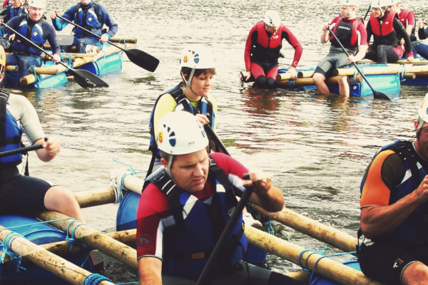 Raft Building Activity at Adventures Wales, Raft Building team building adventures