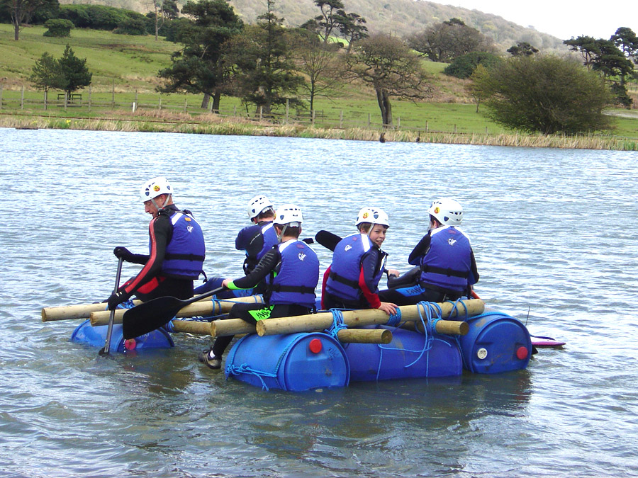 Schools and colleges raft building activities at Adventures Wales