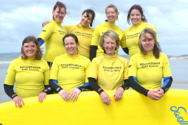 Hen party surf lessons, Hen outdoor packages with Adventures Wales