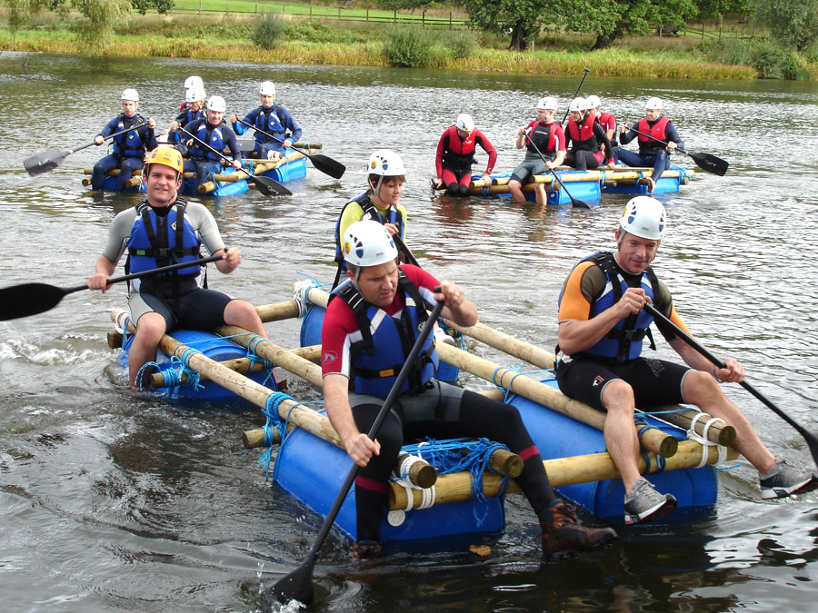 Teams raft building with Adventures Wales, raft building in south wales, raft building in schools, raft building school trips, team building raft building
