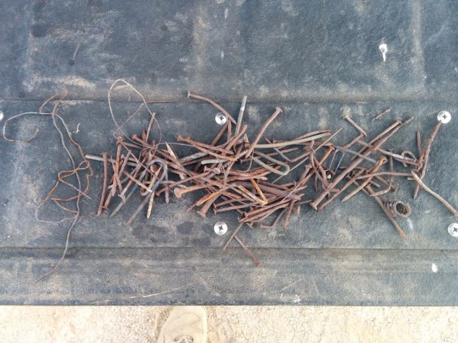 Pile of collected rusty nails etcetera