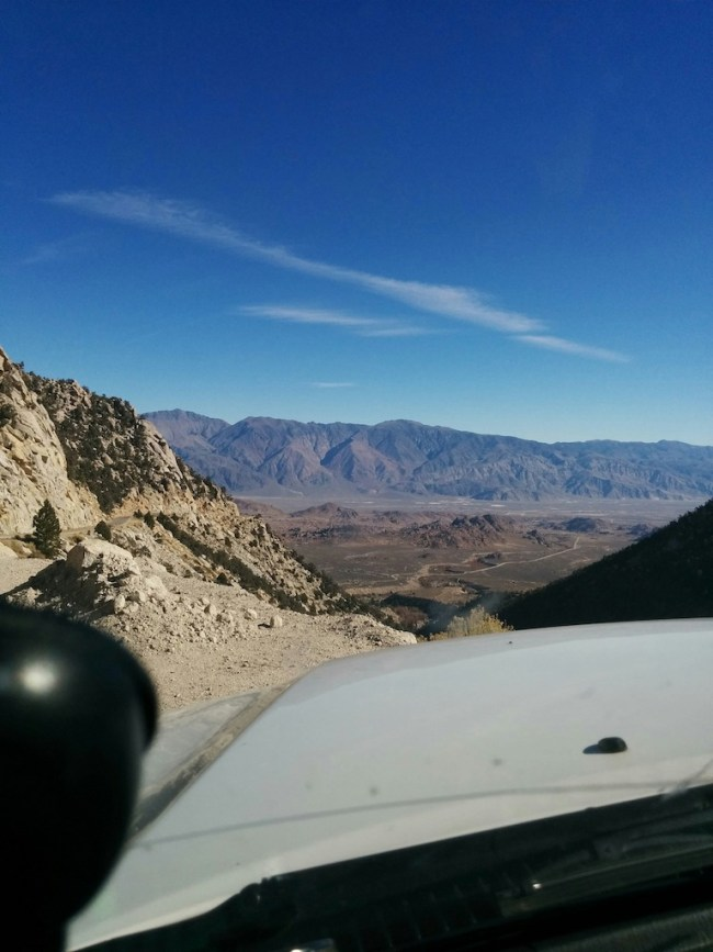 picture taken from Whitney Portal Road looking back down the mountain to the Alabama hills area