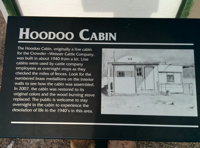 The sign in Front of the Cabin