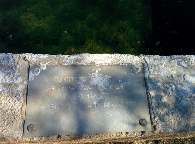 Plaque on the tank she was drinking from