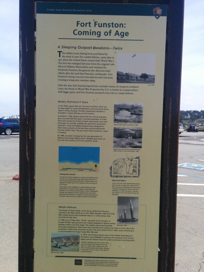 another fort funston historical information sign